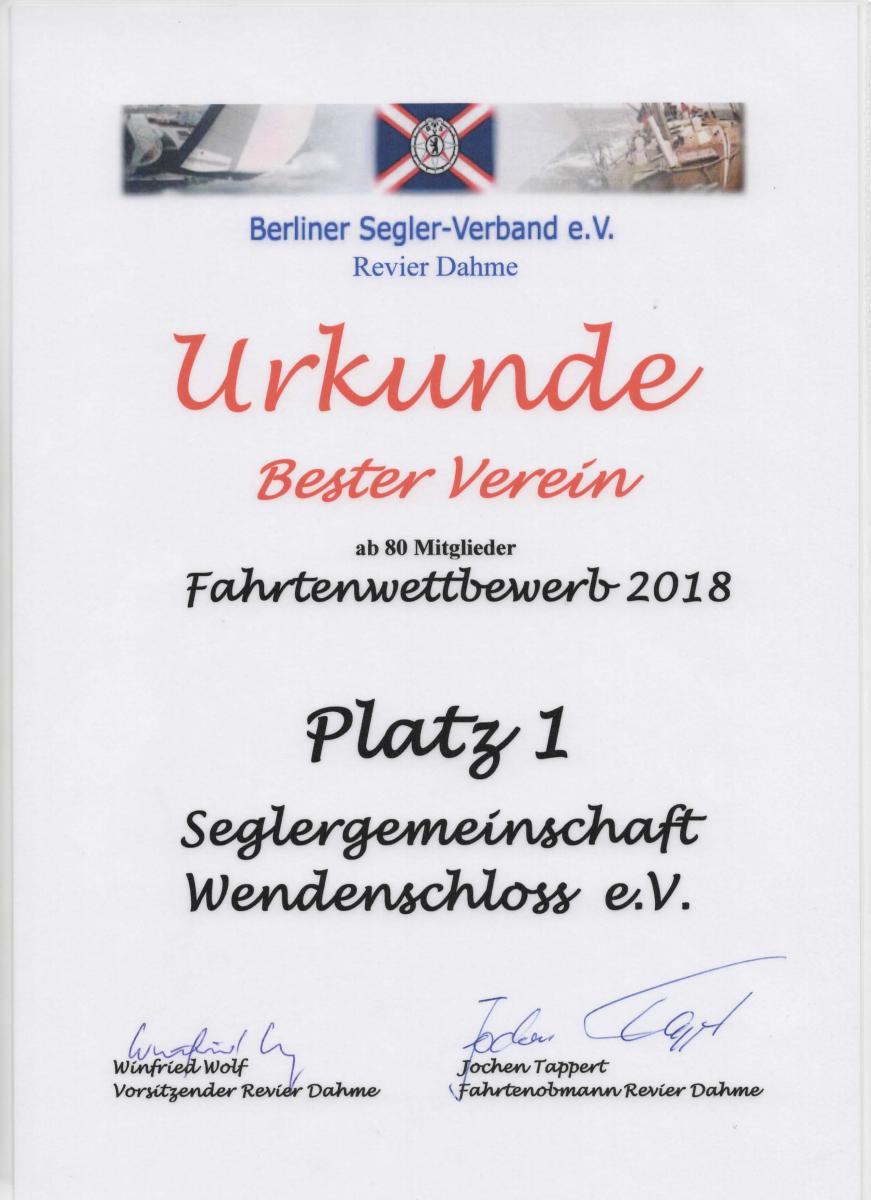 Urkunde Fahrtenwettbewerb 2018