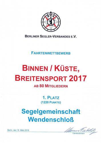 Urkunde Binnen/Küste Breitensport 2017