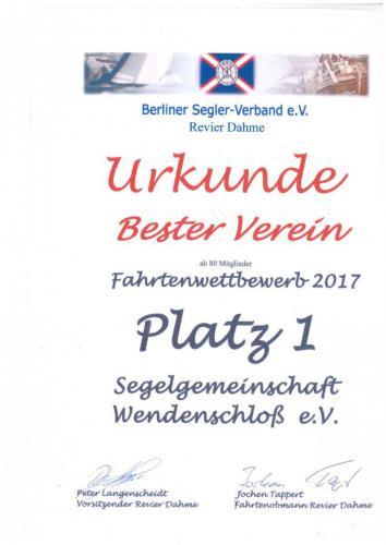 Urkunde Fahrtenwettbewerb 2017