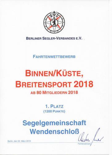 Urkunde Binnen/Küste Breitensport 2018